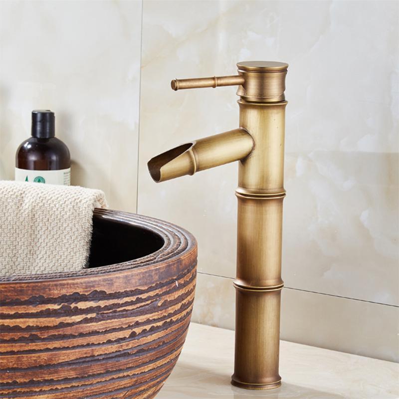 2adet Su Giriş Tube ile 1pc Retro Bakır Sıcak Ve Soğuk Su Musluk Yüksek Lavabo Bataryası Bambu Shape Banyo Aksesuarları