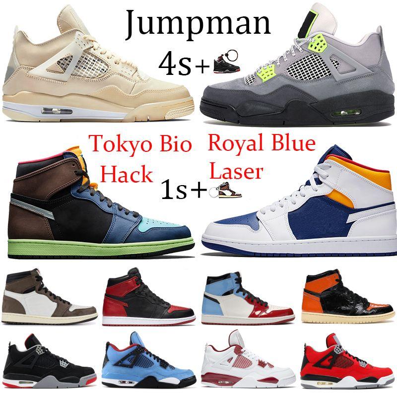 New 4s Sail Jumpman 1s 1 Tokyo Bio Hack basketball shoes 4 metallic purple green black cat Chicago royal Toe sport running sneakers
