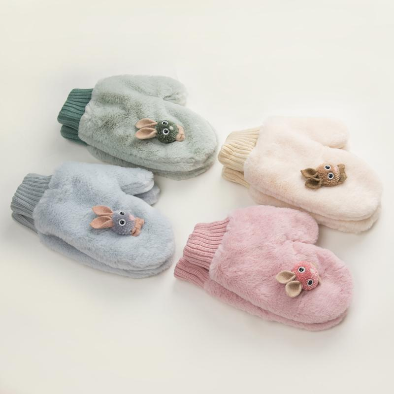 2020 New Lovely Cartoon Winter Gloves Women Mittens Velvet Inside Arctic Velvet Thickened Dual-layer Hang On Neck
