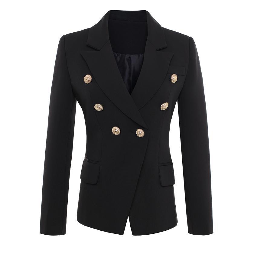 Золотые кнопки ВЫСОКОЕ КАЧЕСТВО Новая мода 2020 взлетно-посадочная полоса Стиль Женская двубортный размер Blazer Верхняя одежда Plus S-XXXL LJ200907