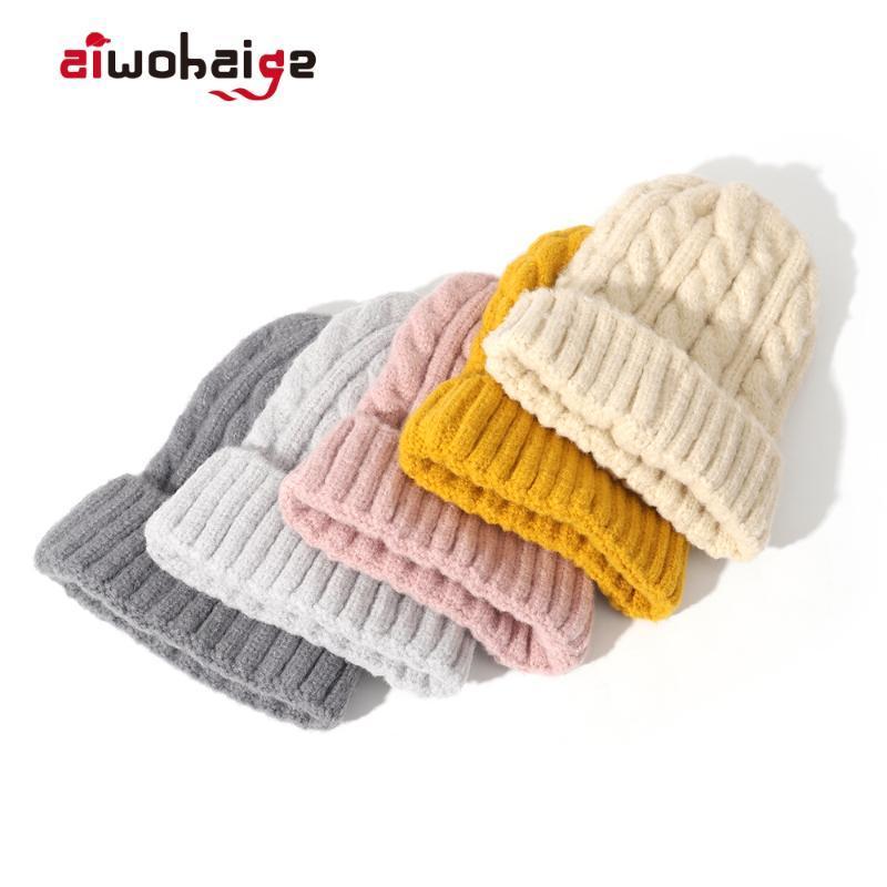Moda inverno Cappello femminile misto cashmere Knit Beanie Donne addensare Warm morbida lana Cap Slouchy Skullies Berretti signore Bonnet sci