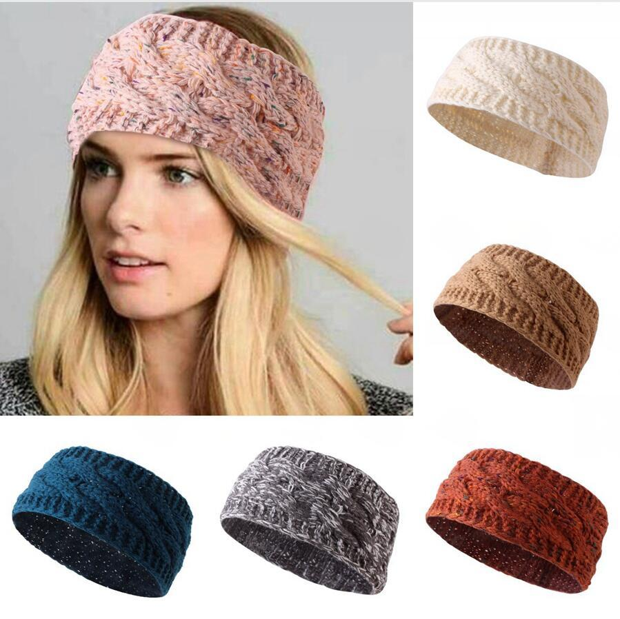 Mode Tricoté Noeud Bandeau Femmes Multicolor Automne Hiver Sport Hairband filles Headwrap bande élastique Accessoires cheveux DDA514