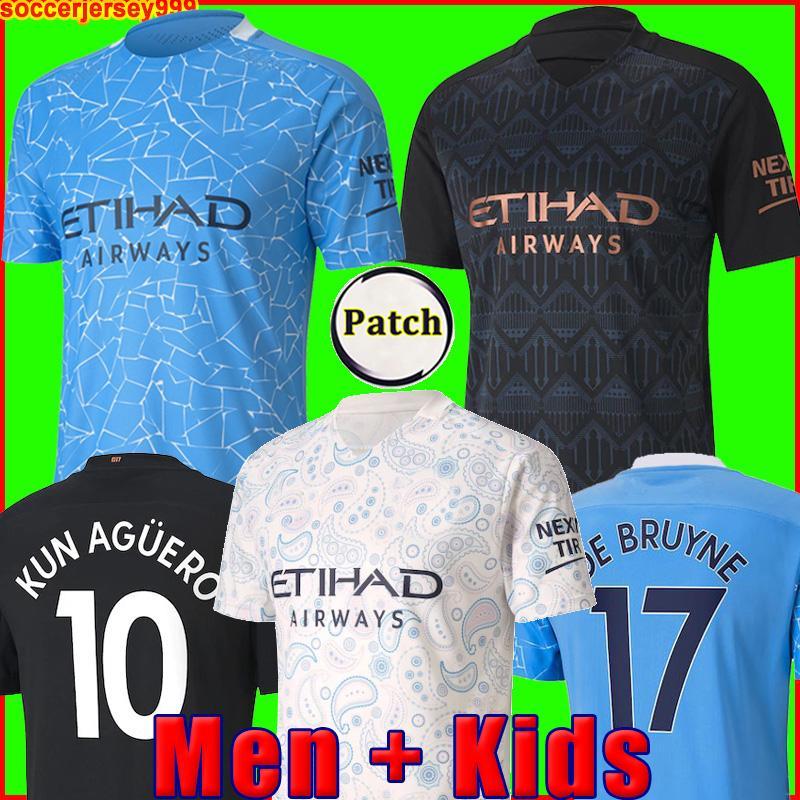أعلى  21 20 كرة القدم جيرسي المدينة 2021 2020 G. يسوع ماهرز دي بروين كون أغويرو قميص كرة القدم MENDY الزي الرسمي بعيدا manchester men + kids kit