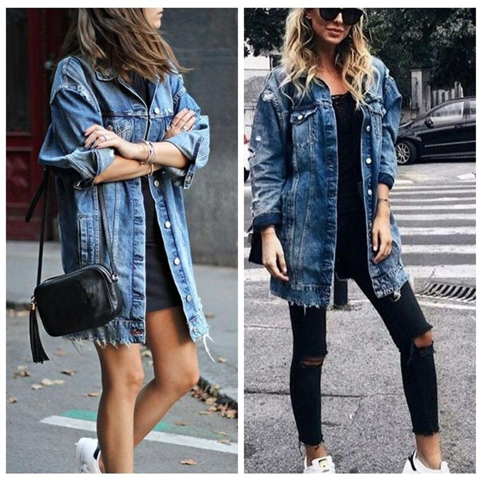 Mode- Übergroße lässig Langmantel Frauen Casual Revers Slim Langarm Denim Outfoat Jacke Windjacke