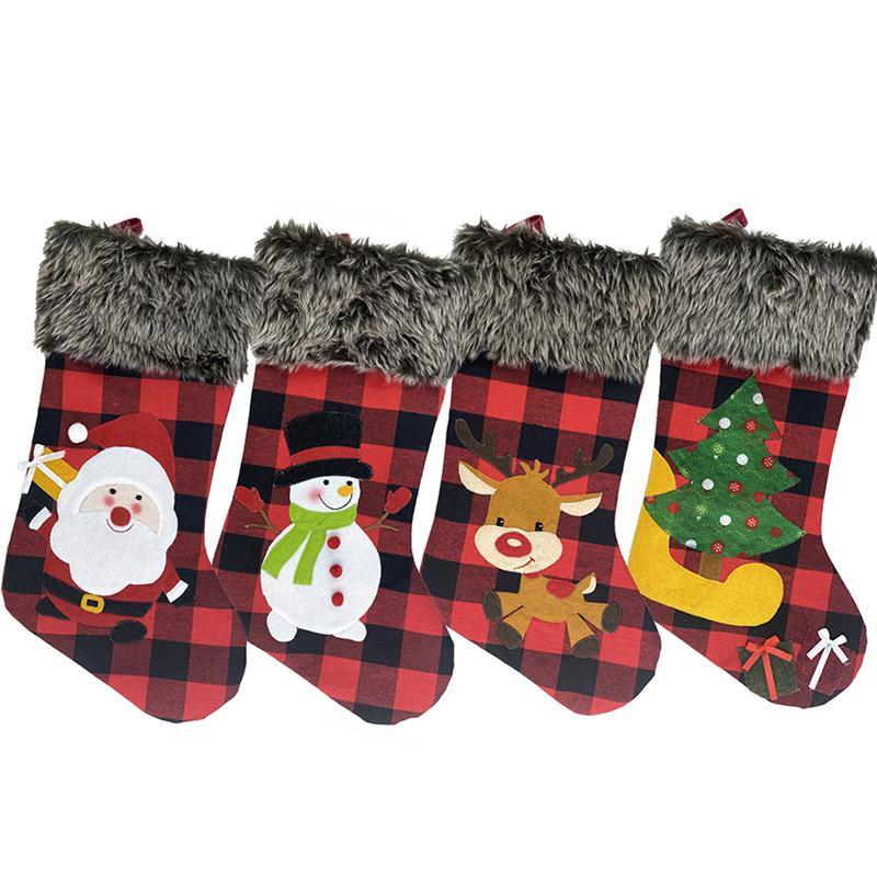 크리스마스 스타킹 붉은 격자 무늬 스타킹 산타 클로스 선물 매달려 스타킹 니트 국경 크리스마스 문자 크리스마스 펜던트 벽난로 장식