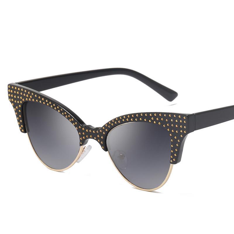 Nouveau mode Lunettes de soleil Cat Eye Femmes Marque Designer Demi-incrustée métalFrame Lunettes de soleil miroir mode ombre femme Lunettes