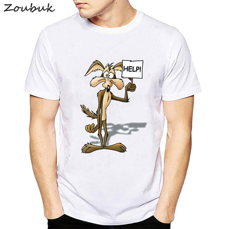 2020 tapas Wiley Coyote camiseta de los hombres Looney Correcaminos de dibujos animados película divertida Nuevos Desde US harjuku Vestimenta de los hombres