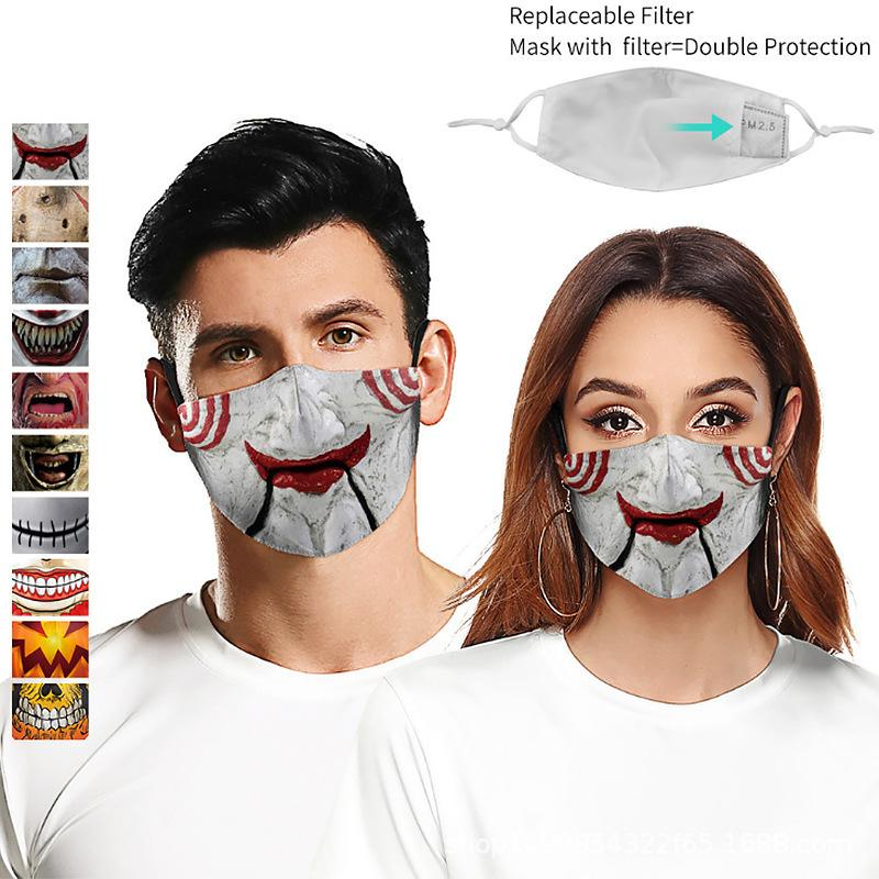 Buz ipek toz geçirmez 3D Wansheng korku tarzı dijital baskı çıkarılabilir filtre elemanı erkek ve kadın koruyucu maske doku