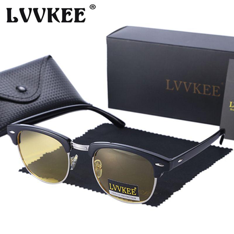 Semi Rimless Classic Glasses Vision Goggles Women LVVKEE Sunglasses Outdoor Men Hot Sol Sun Uv400 Oculo Night De Uqhfg