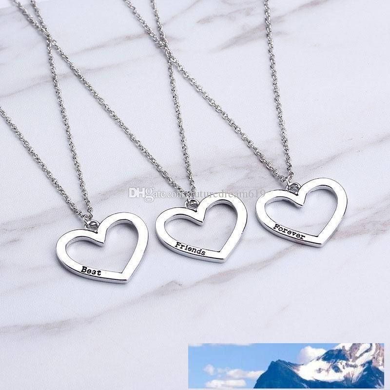 Best Friends Forever Collier Coeur 3 Pièces Collier Puzzle Pendentif cadeau pour fille Amitié Livraison gratuite