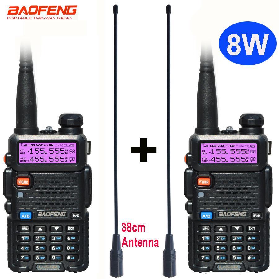 2 pcs Rádio 8W Baofeng UV5R definir Walkie Talkie UV 5R UV5R dois sentidos estação de rádio transmissor USB Feminino antena macio 771