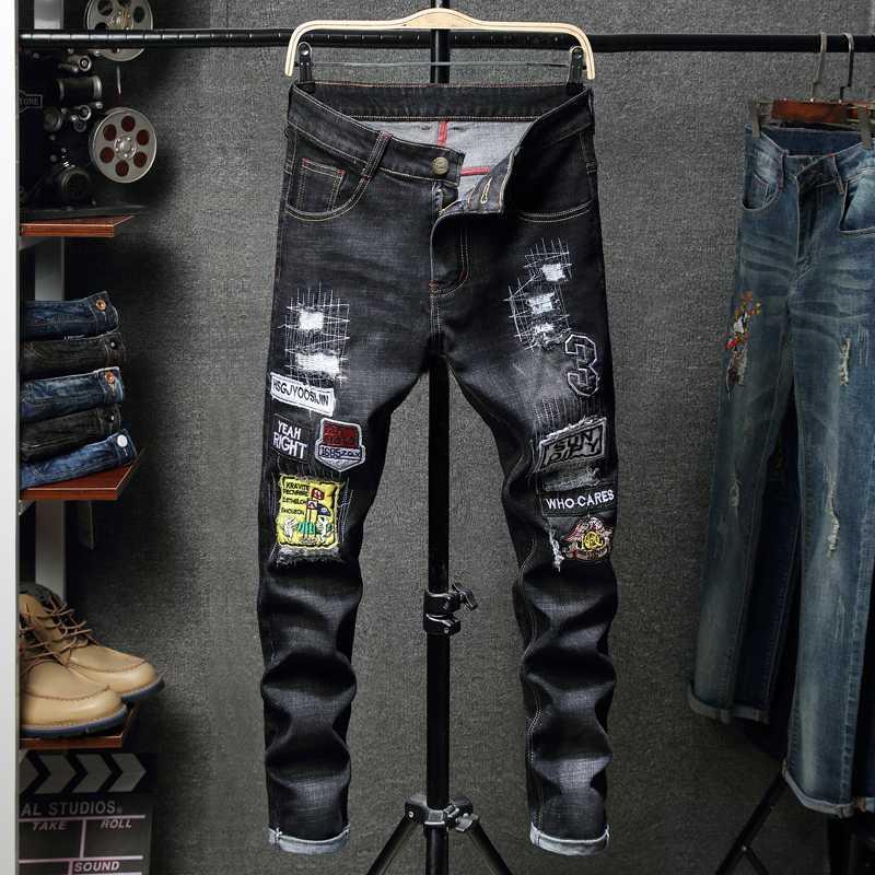 Kot Erkekler Elastik Bel Skinny Jeans Erkekler 2020 Stretch Pantolon Streetwear Erkek Denim Ripped