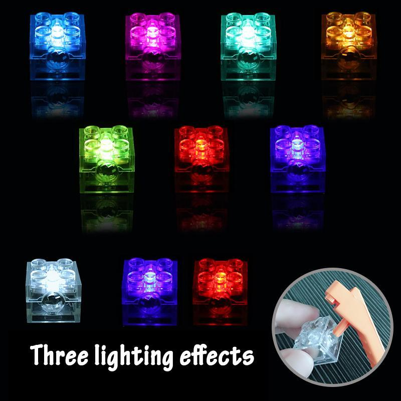 Led Kid Zubehör Up Classic All Dot Blocks Licht Gebäude 2x2 Marken Brick Bildung Emitting Licht Bunte 5pcs Kompatible yxlovM