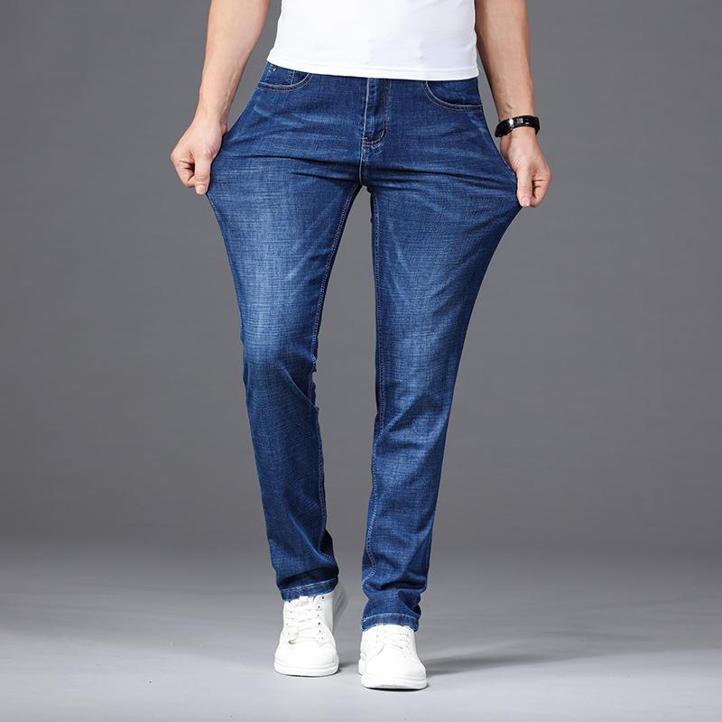 2020 Yeni İlkbahar Sonbahar Erkek Orta ağırlık Jeans Düz sığacak Elastik Pamuk Pantolon Erkek Kot Pantolon Marka Giyim Artı boyutu 40