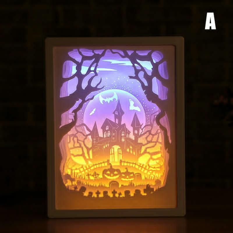 محفورة ورقة 3D LED مكتب ضوء الليل للنوم عيد الميلاد هالوين منحوتة الديكور مصباح هدية عيد ميلاد