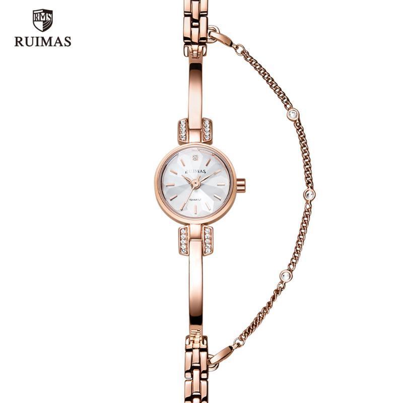 Pulsera de lujo RUIMAS mujeres de los relojes de oro rosa de cuarzo reloj de pulsera marca de fábrica superior a prueba de agua reloj de señora femenino Relogios Femininos Reloj