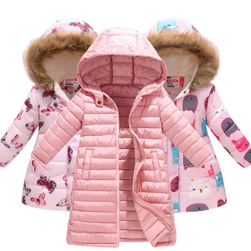 Bebek Sıcak Kapşonlu Kabanlar Coat Kız Giyim Çocuk Aşağı Parkas İçin Çocuklar 2020 Sonbahar Kış Ceket
