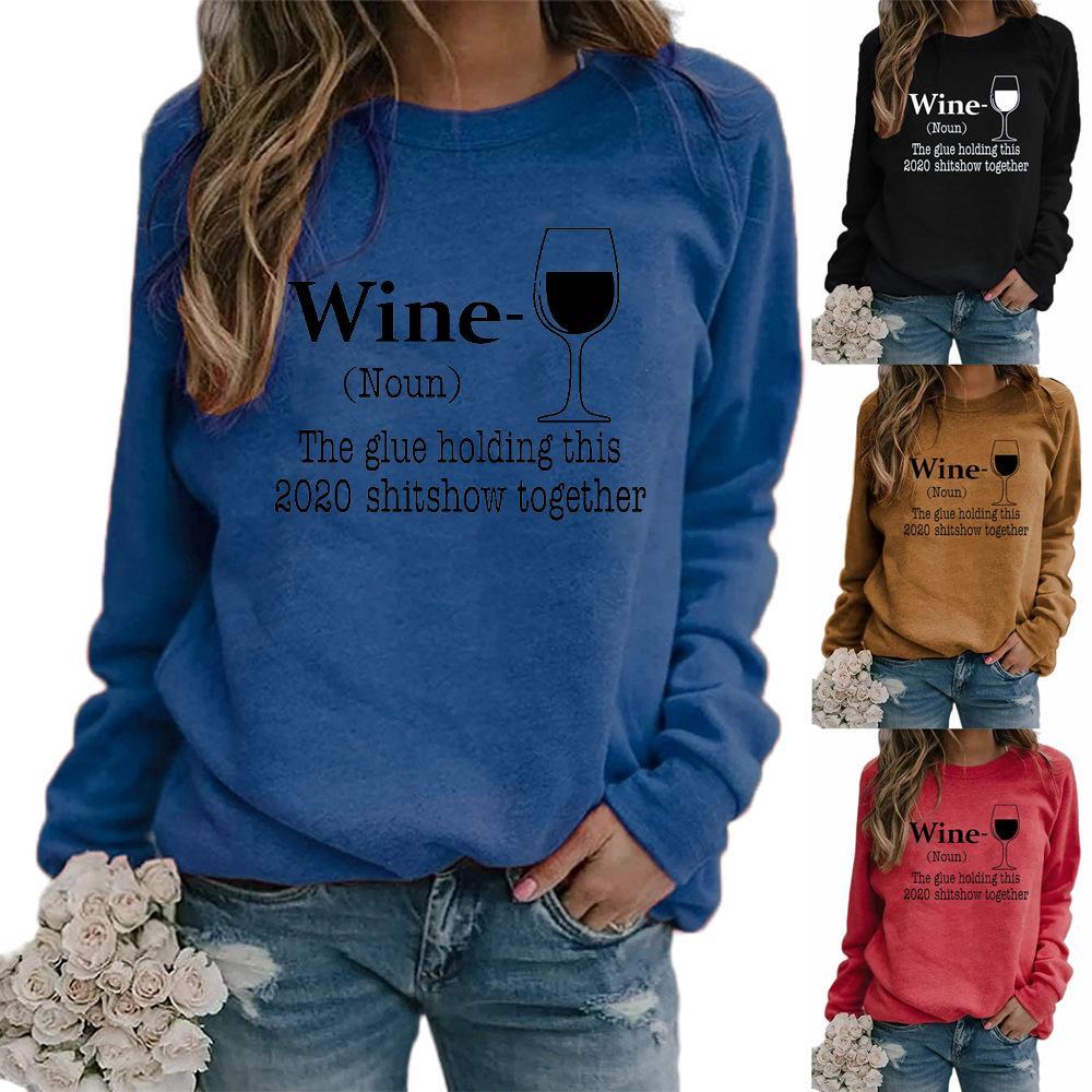 2020 neue Herbst-Frauen-Hoodies-Sweatshirts plus Größe Weinglas Brief Rundhals drucken Langarm-Pullover Pullover