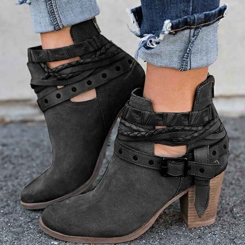 Fanyuan Automne Hiver cheville Femmes Casual Chaussures pour dames Martin Suede boucle en cuir Bottes à talons hauts fermeture neige botte 200916