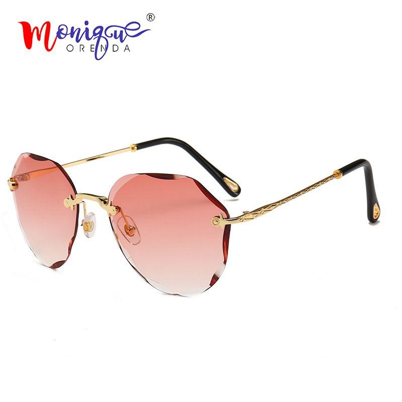 Fashion Rimless Vintage Donne Telaio sole 2020 Occhiali da sole Occhiali da sole Glasses Luxury Less for TRIMMING TEAVA