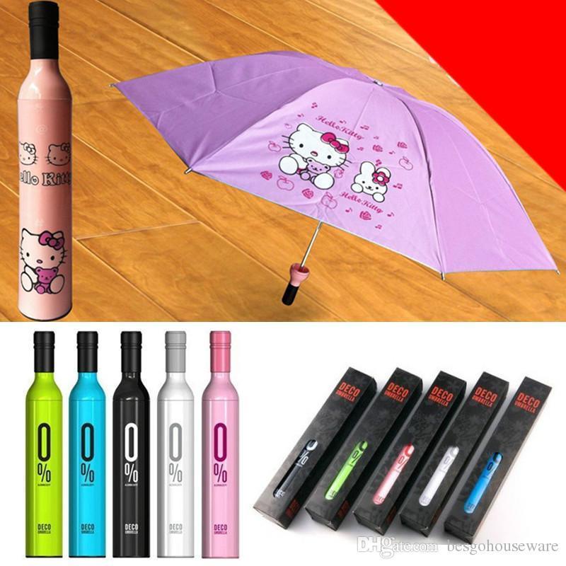 Garrafa de Vinho Umbrella Creative vinho garrafa portátil dobrável guarda-sol à prova de vento Sun proteção UV viagem Umbrella 41 Projeto Bh1902 Cy