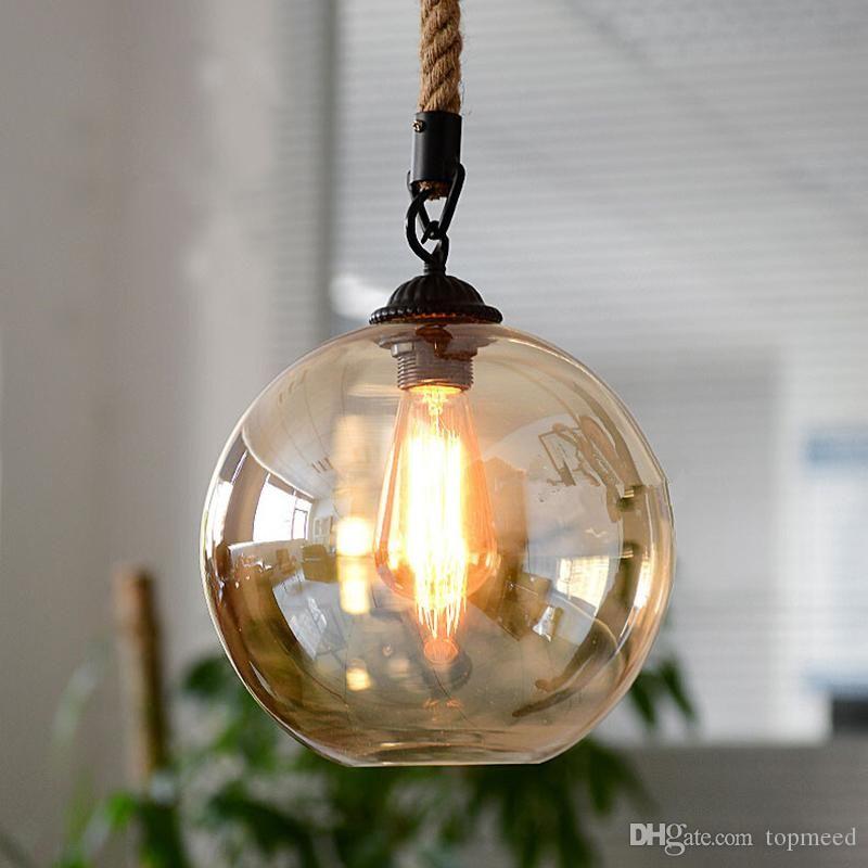 Промышленный стеклянный шар пеньки веревка подвесные светильники E27 AC 110V 220V лампа для столовой для гостиной кафе бар