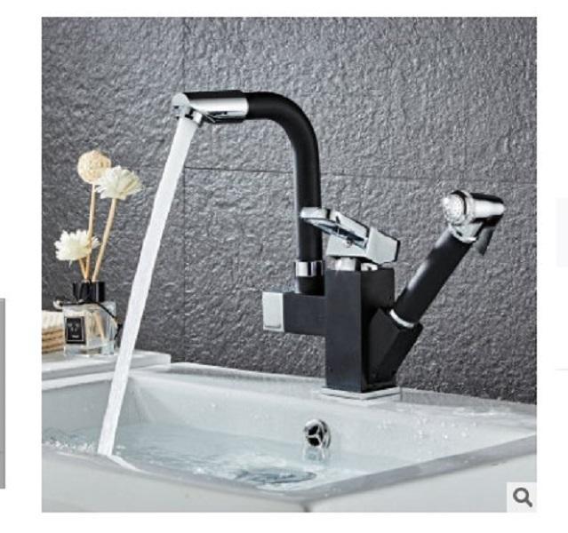 2020 sıcak satış Mutfak sıcak ve soğuk çekme tipi lavabo kase lavabo geri çekilebilir rotasyon siyah mutfak musluk sıçrama kanıtı lavabo musluk
