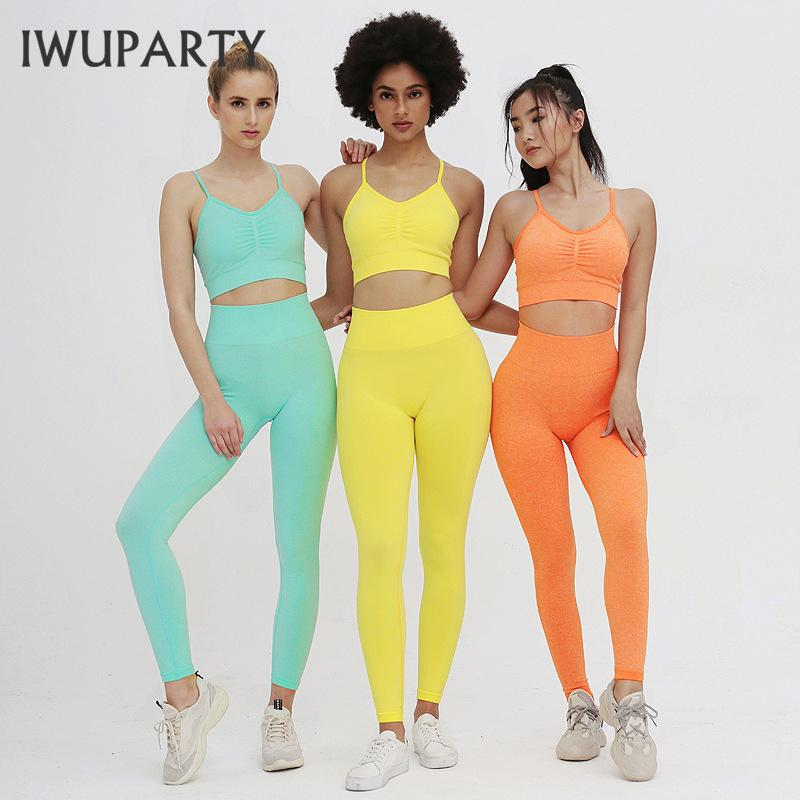 IWUPARTY 2 peça Sports Define Bra-Leggings Jogging Mulheres Academia Set Roupa Seamless Workout Sexy Outfits de Fitness Sports Suit Pant