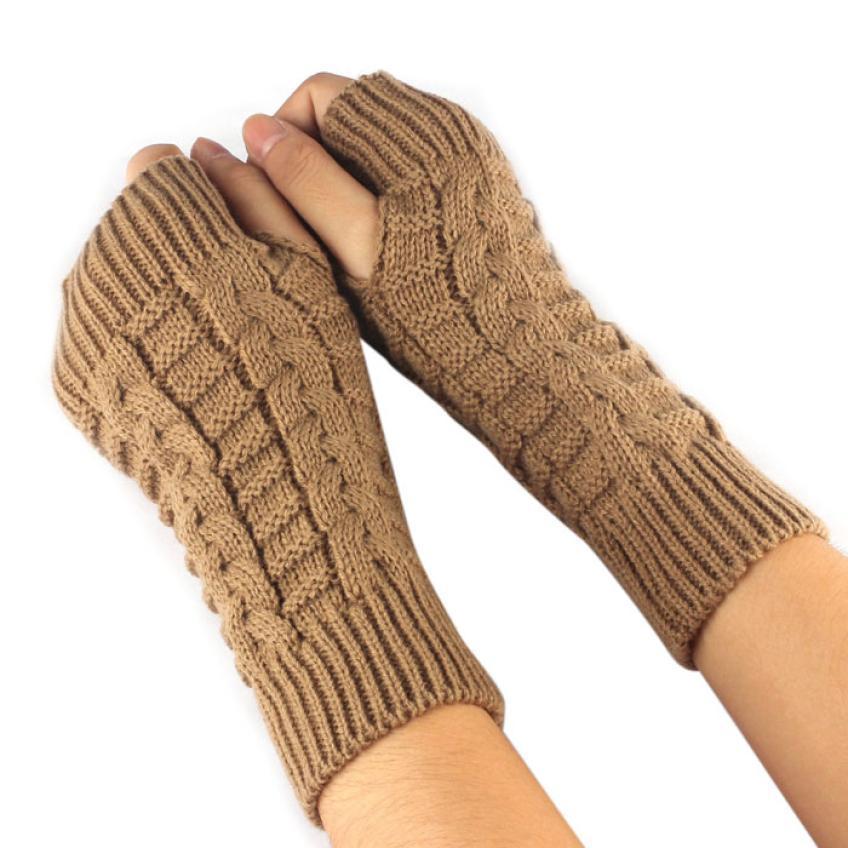 Cgjxs calientes 2019 Guantes de invierno de mujeres de brazo y mano de punto de ganchillo mitones de punto de la muñeca del guante medio dedo LUVAS