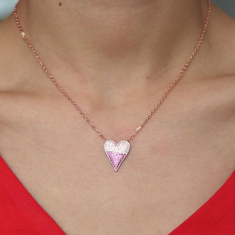 2020 valentines cadeau amant pendentif coeur collier rose cz rouge blanc pavée rose de conception de coeur de couleur or