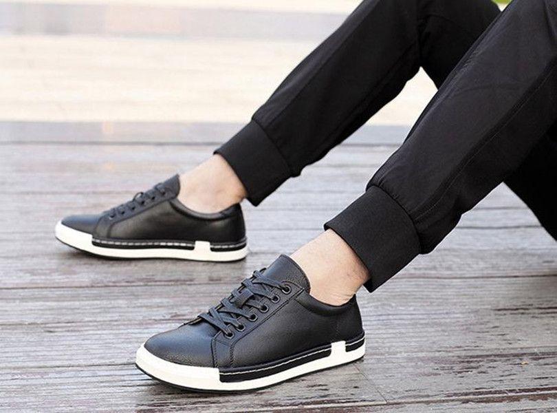 gündelik eğlence Büyük erkekler moda pu deri rahat ayakkabılar mens