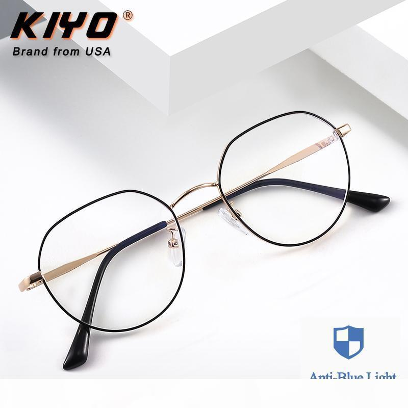 Kiyo Brand 2020 Новые Женщины Мужчины Мода Анти синий свет Оптические Frame Metal очки Рамки Овальные очки очки 9643