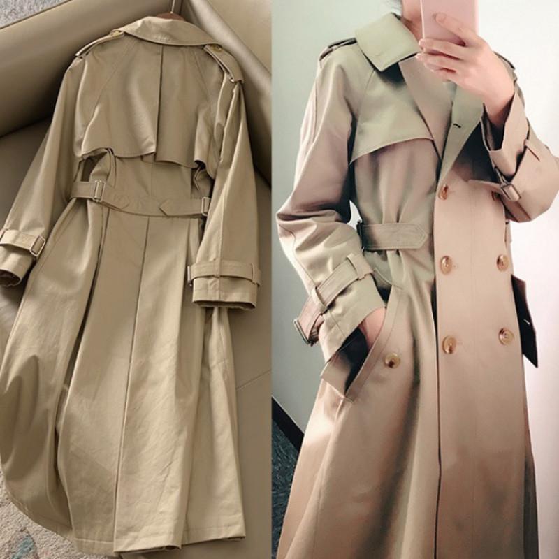 Khaki Doppel-Trenchcoat Frauen 2020 Frühling Revers langen Windbreaker Femme Kleidung lose Mantel-Staub-Mantel Herbst Outwear 95