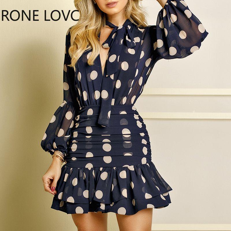 Frauen mit langen Ärmeln Punkt-Druck-Rüschen Mesh-Open Back-Kleid Elegante Mode Chic Kleid 200928