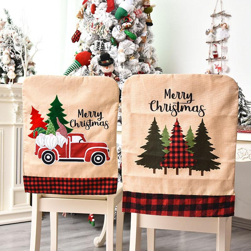 Black Red Latticed Christmas Chair Back Covers Dining Chair Cover Slipcovers For Xmas Banquet Holiday Festival Decor