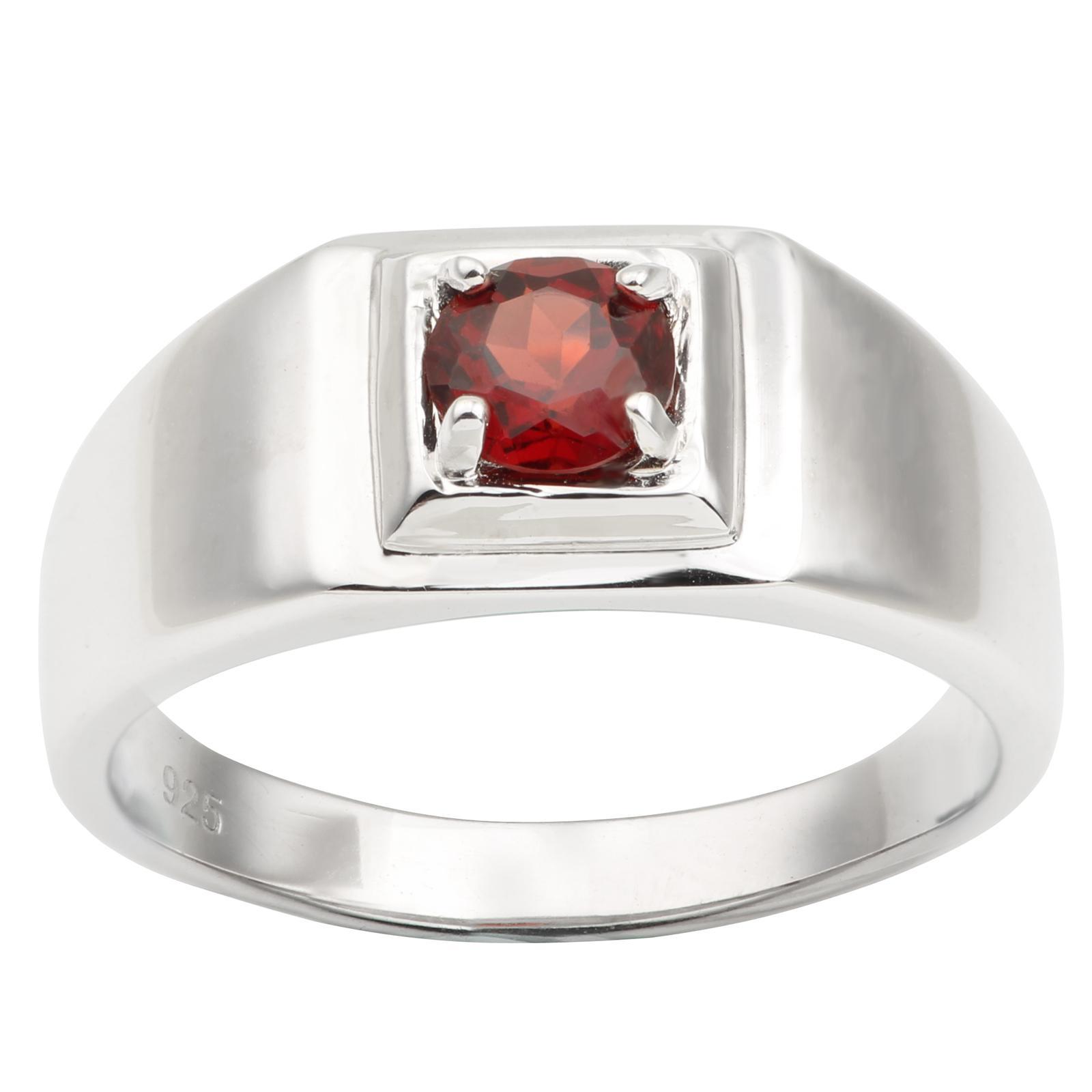 Naturale Rosso granato 925 anello d'argento per gli uomini gioielli Pure 5,5 millimetri Banda della pietra preziosa rotonda di cristallo gennaio Birthstone regalo di compleanno R503RGN