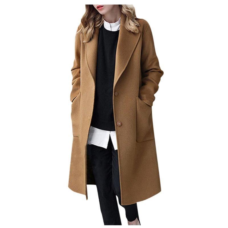 Кнопка женщины зима нагрудной Длинных пальто куртки Женских пальто Outwear Abrigos Mujer Invierno 2020 W1002
