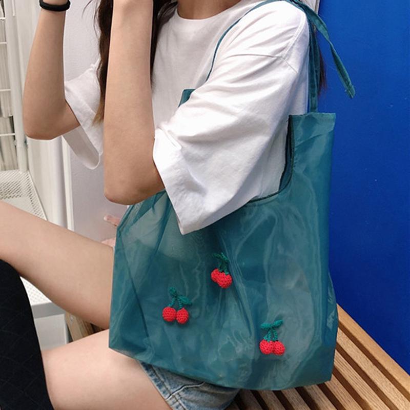 2020 새로운 여름 오간자 핸드백 자수 어깨 가방 소녀 쇼핑 지갑 여성 토트 학생 핸드백 한국어 프레피 스타일