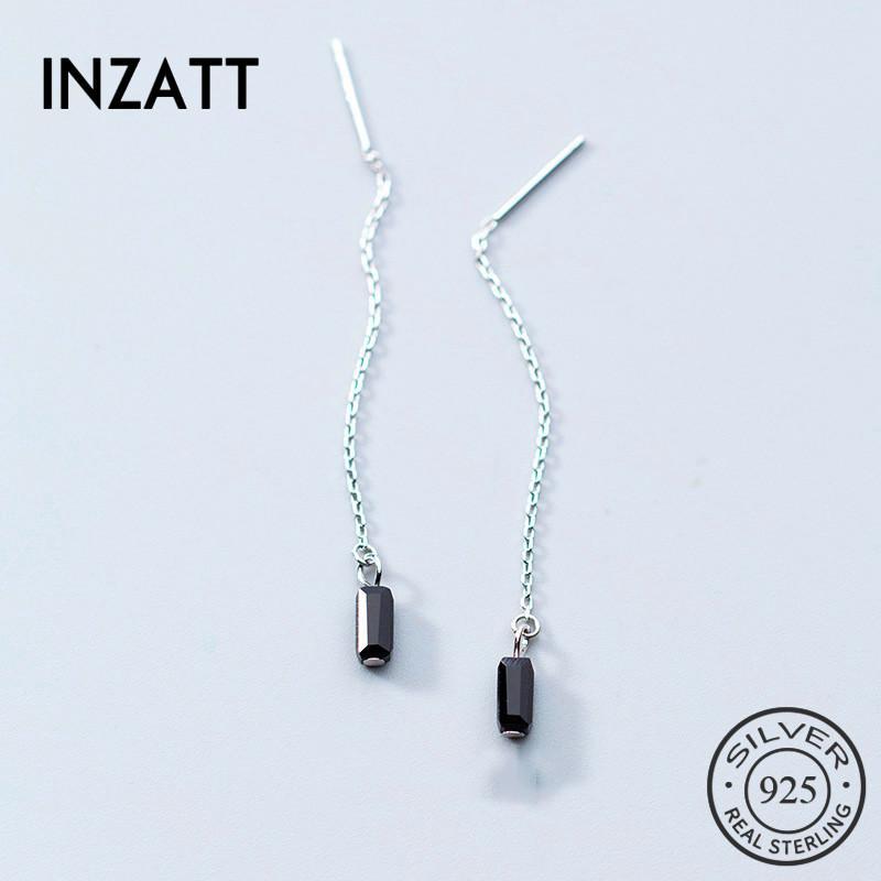 INZAMinimalist мотаться падение серьги Real 925 стерлингового серебра цепи кисточкой Три цвета Симпатичные изящных ювелирных изделий для женщин Bijoux