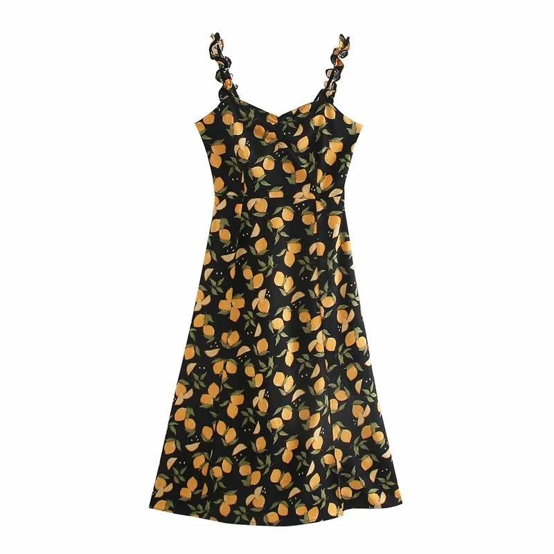 2020 дизайнер Урожай Сексуальной одежды Линия осени новой женских платья печать мода с тонким французскими складками печати груди боковых щелевого платье