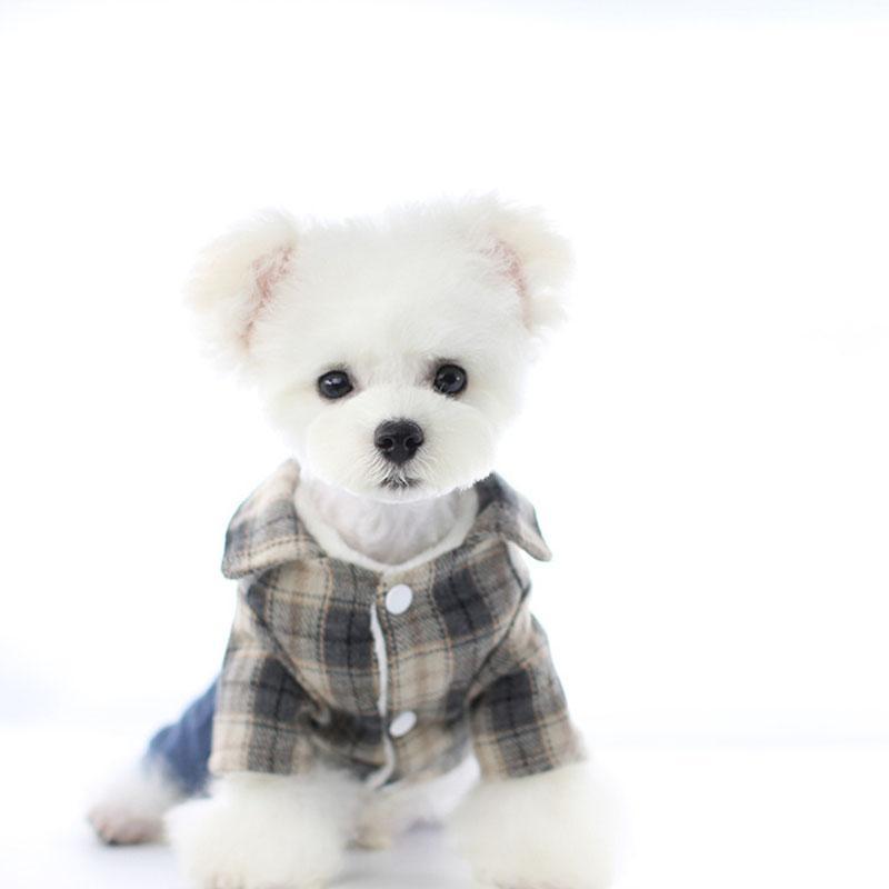 Vintage Plaid imprimé Dog Teddy Jackets de bouledogue Schnauzer petit chien Outerwears automne hiver chaud Pet Dog Apparel