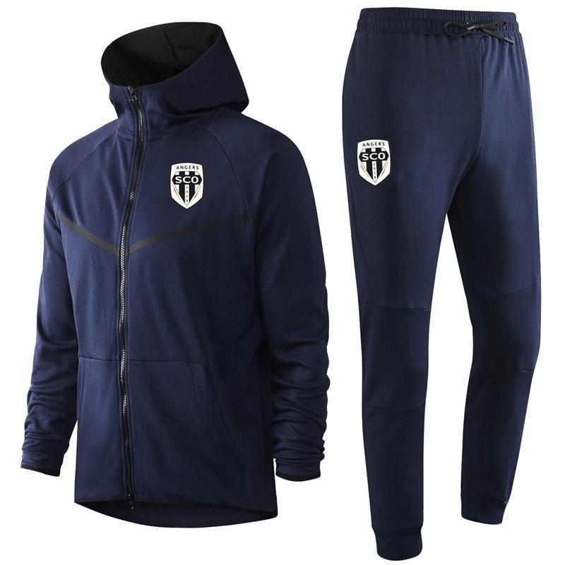 2020 Angers Sco Yetişkin Futbol Eğitim Eşofman Kitleri Nan Kapüşonlu Futbol Eğitim Takım Elbise Setleri Survetement Maillots De Foot Erkek Eşofman