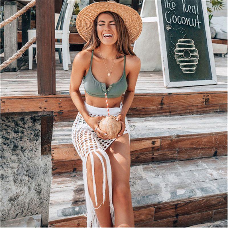 2020 encubrimientos Sexy Bikinis Verano Faldas Mujeres Trajes de baño Mallas hueco del ganchillo fuera de baño del vendaje de la cubierta hasta ropa de playa vacaciones