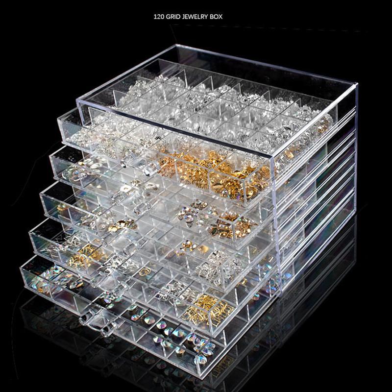 72 120 Izgaralar takı Çiviler Sanat Dekorasyon Saklama Kutusu Rhinestones Taşlar Glitter Depolama Ekran göster Vaka Takı Koleksiyonu Aracı Çekmece Kılıf
