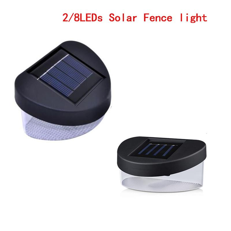Cgjxs водить солнечный забор Бра солнечной энергии привело свет Крыльцо 2leds 8leds огни сада для наружного ландшафта лужайки Gutter