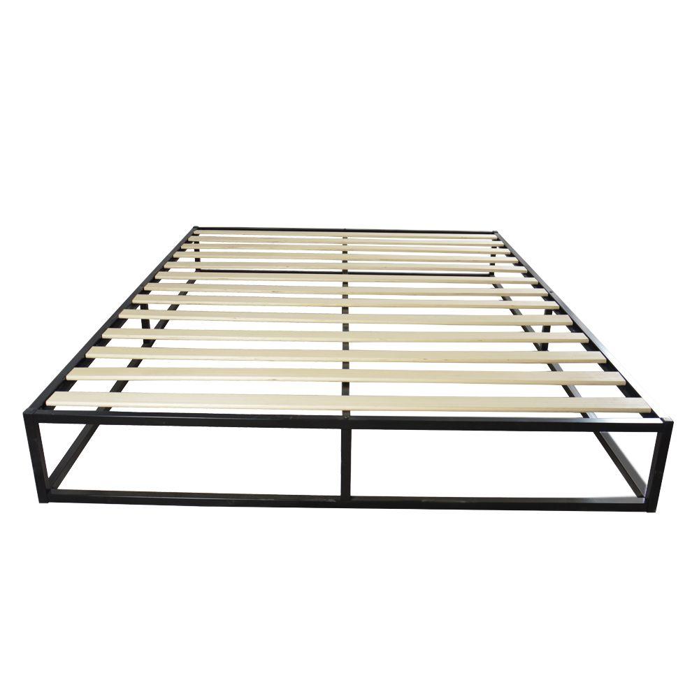 Waco Queen Size Кровать каркас, простая базовая железная металлическая спальня мебельная платформа, домашний отель в общежитии Sources Black