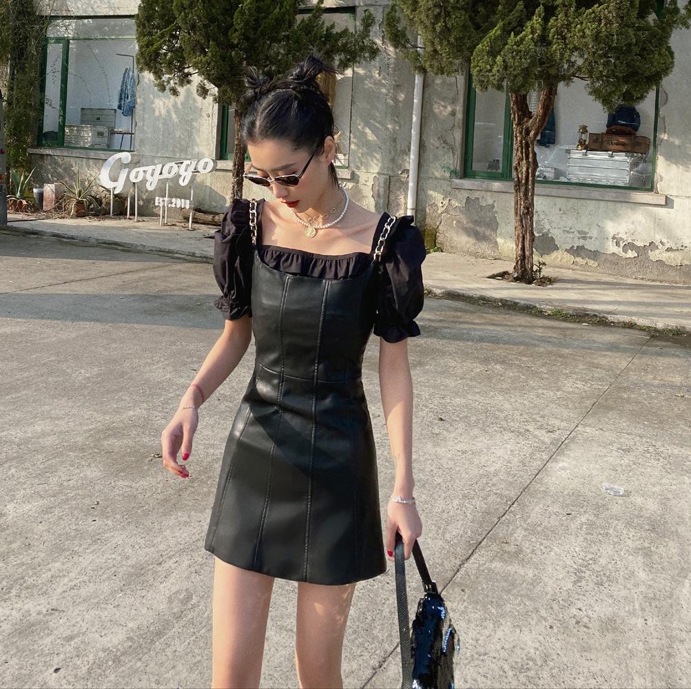 Женщины Black PU Кожа Элегантный Спагетти Ремешок Платье Новые Без рукавов Свободные Found Мода Прилив Весна Лето 2020 1W844