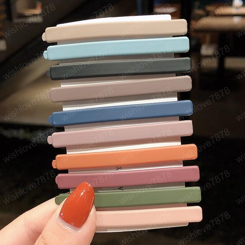 10 Ad / set Katı Renkler Saç Klipler Tokalar Mat Tokalarım Bantlar Kadınlar Saç Aksesuarları Moda BB Klipler Şapkalar