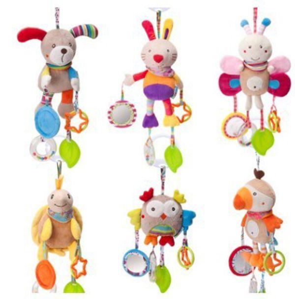 Simpatico cartone animato animale giocattolo carillon bambino vento peluche Culla mobiles ornamenti auto appeso teether giocattolo può macinare i denti