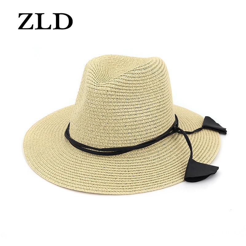 ZLD Efendim caz şapka şapka bayan çift açık plaj güneşlik bayan saman plaj güneş yaz bej saman